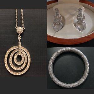 SET! Circle-Shape Necklace, Bangle & Earrings
